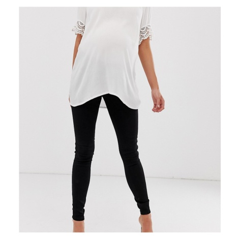 ASOS DESIGN Maternity Tall Ridley high waisted skinny jeans in clean black with over the bump wa