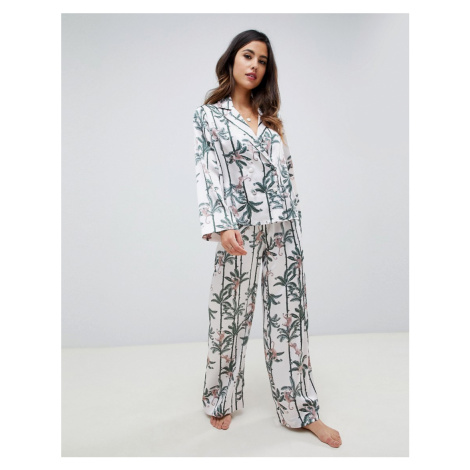 ASOS DESIGN monkey print double breasted shirt and trouser pyjama set