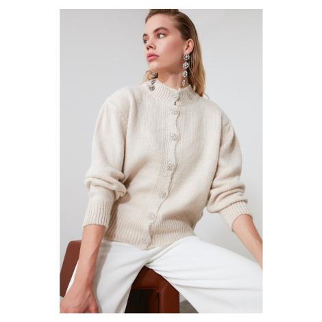 Trendyol Stone Jewelry Button Detailed Knitwear Cardigan