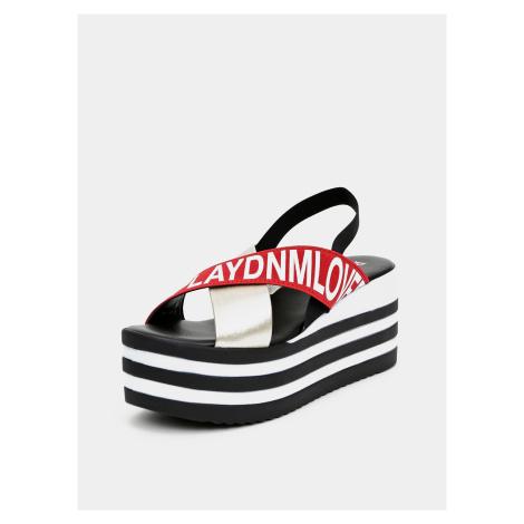 Czarne sandały damskie na platformie Replay
