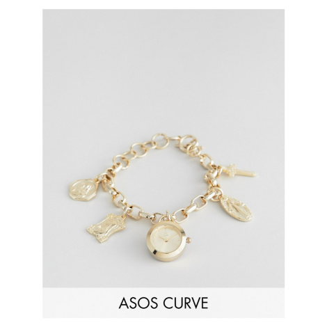 ASOS DESIGN Curve watch with vintage style religious icon charms and clock pendant in gold