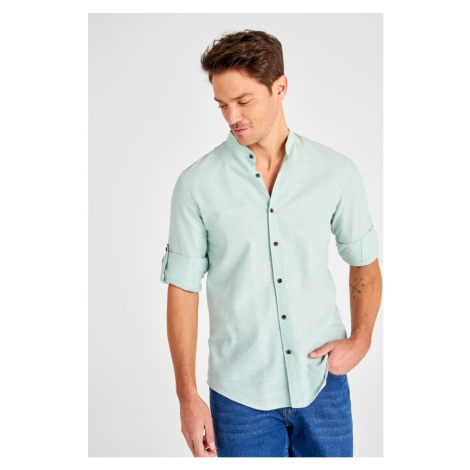 Trendyol Green Men's Basic Judge Collar Slim Fit Long Sleeve Shirt