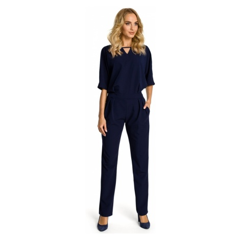 Made Of Emotion Woman's Jumpsuit M334 Navy Blue