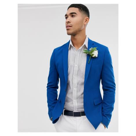 ASOS DESIGN wedding super skinny blazer in blue crepe