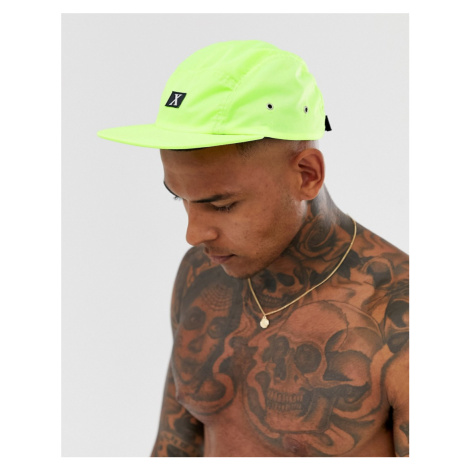 ASOS DESIGN co-ord 5 panel in neon yellow nylon with badge detail baseball cap