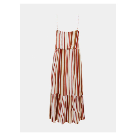 Brązowo-kremowa midi sukienka w paski ONLY Louisa