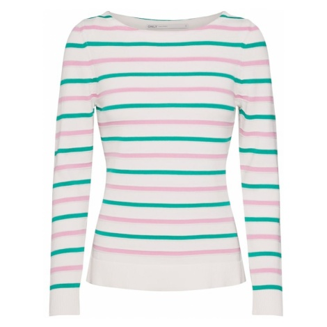 ONLY Sweter 'DELINA' zielony / różowy pudrowy / biały