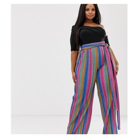 Club L London Plus glitter stripe wide leg trouser in multi