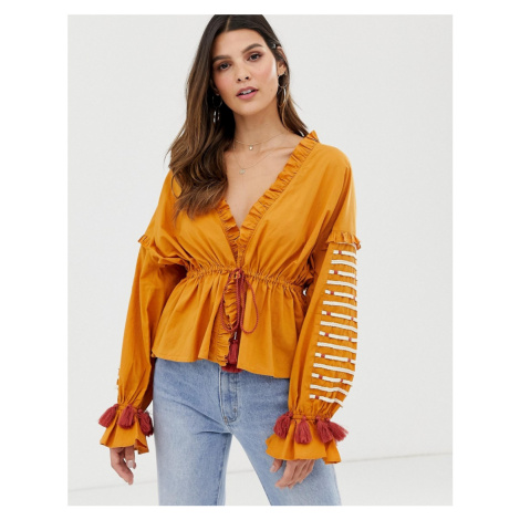 Y.A.S festival embroidered volume sleeve top