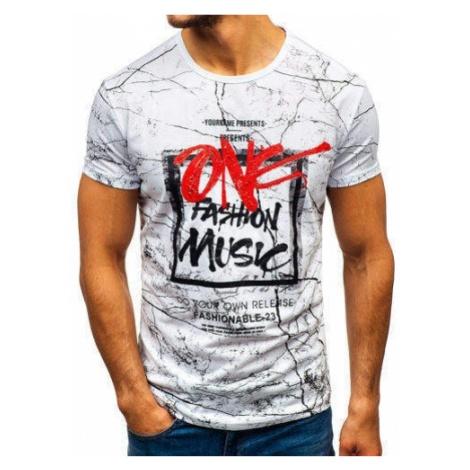 T-shirt męski z nadrukiem biały Denley SS655 J.STYLE
