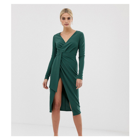 ASOS DESIGN Tall long sleeve wrap midi dress with belt detail