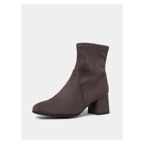 Tamaris szary zamszowe botki buty na obcasie