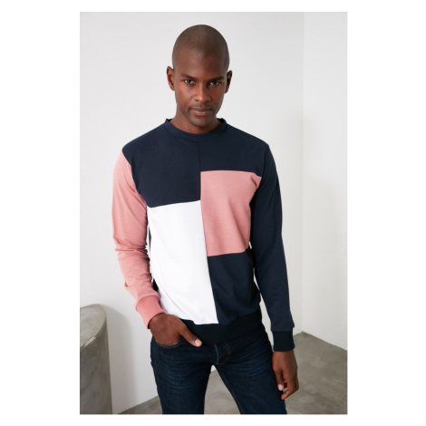Trendyol Navy Men's Paneled Bicycle Collar Regular Sweatshirt