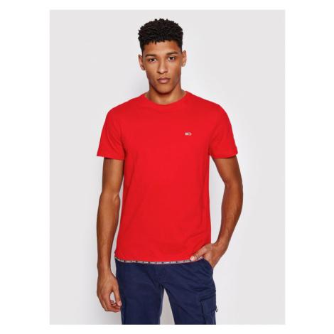 Tommy Jeans T-Shirt Branded Tape Hem DM0DM10284 Czerwony Regular Fit Tommy Hilfiger