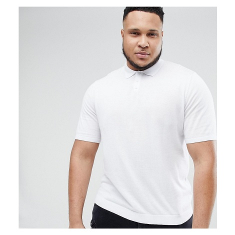 ASOS PLUS Knitted Muscle Fit Polo In White