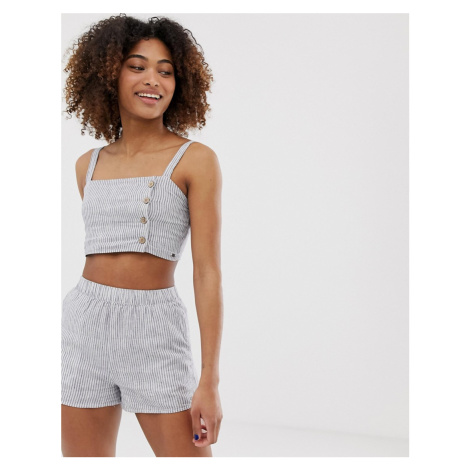 Pull&Bear pacific striped crop top co ord in navy Pull & Bear