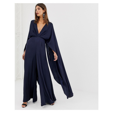 ASOS EDITION cape sleeve jumpsuit in satin