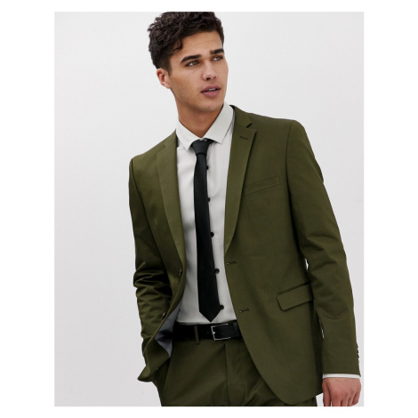 Esprit slim fit suit jacket in khaki