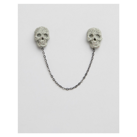 Twisted Tailor skull collar chain in grey