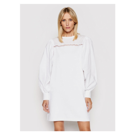 KARL LAGERFELD Sukienka codzienna Fabric Mix Sweat 211W1360 Biały Regular Fit