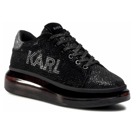 Sneakersy KARL LAGERFELD - KL62623 Blk Textured Lthr W/Silver 10S