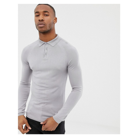River Island muscle fit polo in light grey