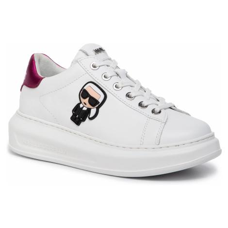 Sneakersy KARL LAGERFELD - KL62530 White Lthr W/Pink
