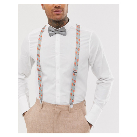 ASOS DESIGN braces and bow tie set in grey floral and plain