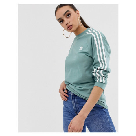 Adidas Originals adicolor three stripe long sleeve t-shirt in vapour steel