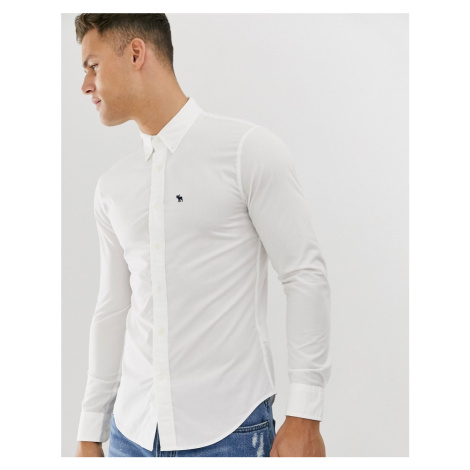 Abercrombie & Fitch icon logo skinny poplin shirt in bright white
