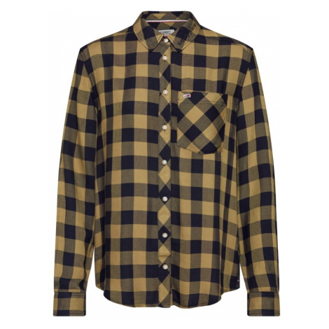 Tommy Jeans Bluzka 'Soft Check' oliwkowy / czarny Tommy Hilfiger