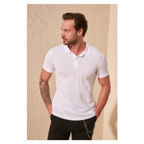 Trendyol White Men's Collar Jacquard Polo Collar T-Shirt
