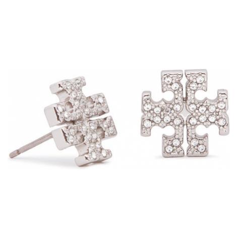 Tory Burch Kolczyki Crystal Logo Stud Earring 53423 Srebrny