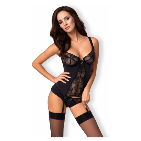 Erotyczny gorset Heartina corset black Obsessive
