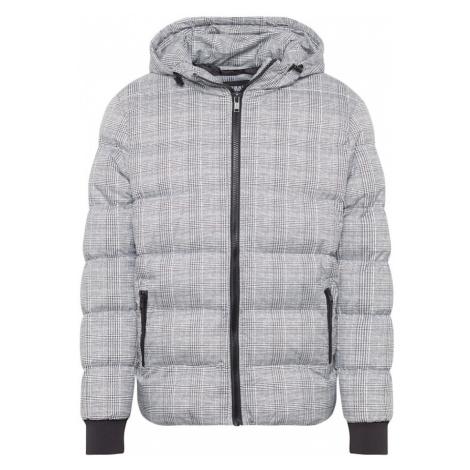 Urban Classics Kurtka zimowa 'Hooded Check Puffer Jacket' czarny / biały