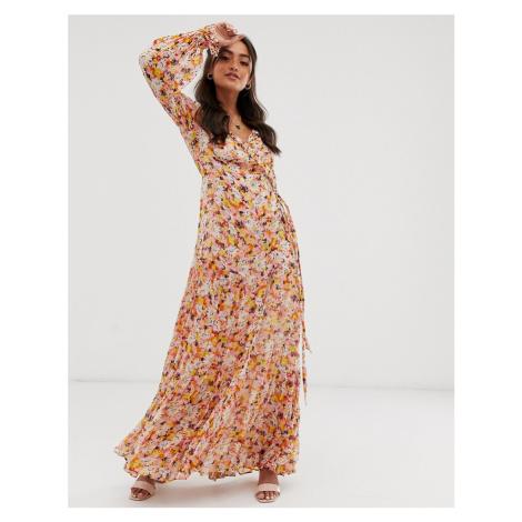 Ghost jasmine georgette floral wrap maxi dress