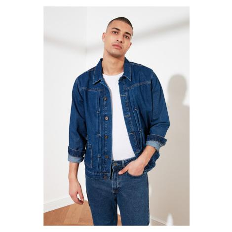 Bluza jeansowa Trendyol Navy Blue Męskie ściągacz dżinsowe