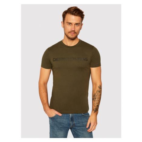 Calvin Klein Jeans T-Shirt Institutional J30J307856 Zielony Regular Fit