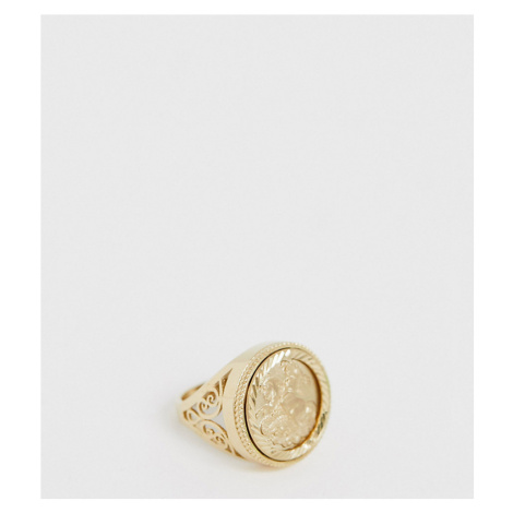Chained & Able sovereign ring in gold plated sterling silver