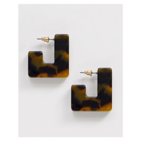 ASOS DESIGN hoop earrings in thick square tortoiseshell resin design