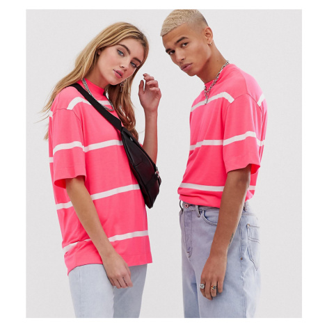 COLLUSION Unisex neon stripe t-shirt in pink