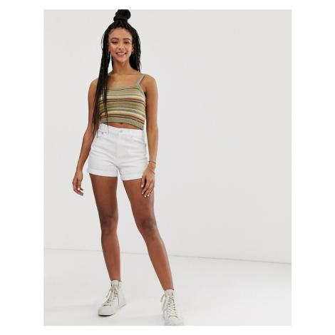 Pull&Bear turnup denim shorts in white Pull & Bear