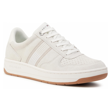 Sneakersy TOMMY HILFIGER - Basket Low Suede Cupsole Sneaker FM0FM02844 Ivory YBI