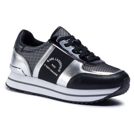 Sneakersy KARL LAGERFELD - KL61941 Black Lthr & Text W/Silver