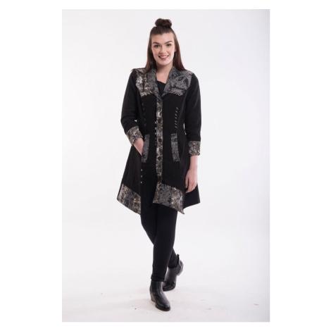 Orientique czarny płaszcz Coat Asymetric Hem Black