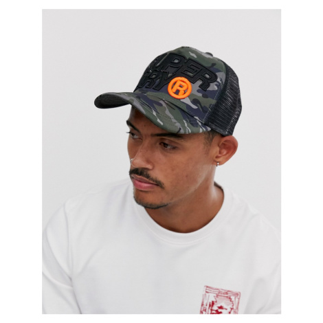 Superdry Lineman camo trucker cap in black