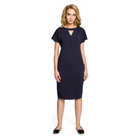 Made Of Emotion Woman's Dress M317 Navy Blue