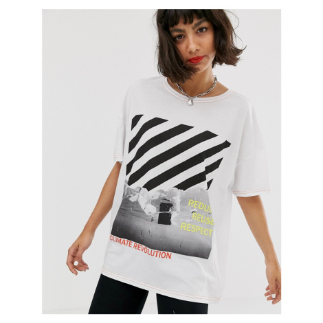 Noisy May graphic front contrast stitch oversized tee
