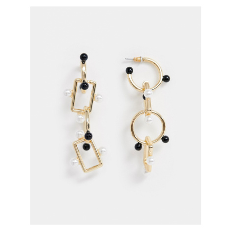 ASOS DESIGN earrings in linked design with pearl and ball detail in gold