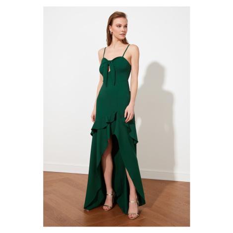 Trendyol Emerald Green Collar Szczegółowa suknia wieczorowa & sukienka dyplomowa